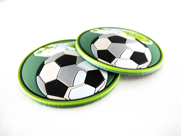 Football Sport Swear PVC Patches is made by Eco-Friendly PVC material,Custom 3D design,beautiful and fashionable, easy clean,waterproof. raise grade of garment.