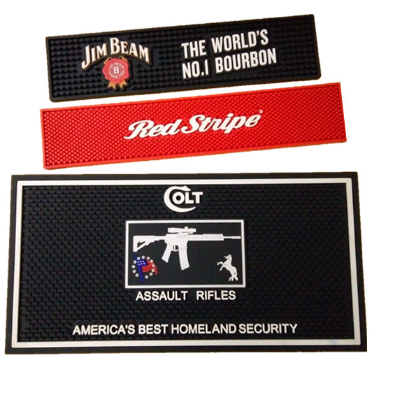 PVC Rubber Bar Mats with eco-friendly,waterproof,easy clean,anti slip etc features. mainly used on bar counter,clubs,beer companies,Beverage companies and alcohol companies for Advertising and promootional event.