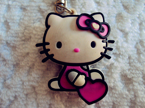 kitty cat pvc rubber keychains
