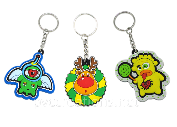 cute cartoon soft PVC rubber 3d keychains manufacturing factory